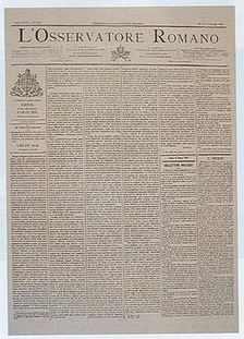 L'Osservatore Romano: front page of 15 May 1891, publishing the encyclical Rerum Novarum of Pope Leo XIII.
