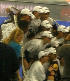 The Penn State volleyball team poses with the 2008 NCAA championship trophy after defeating Stanford University in the final.