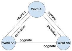 Diagram showing relationships between etymologically related words