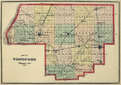 This 1878 map shows the township structure of Woodford County.