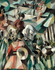 Albert Gleizes, 1911, La Chasse (The Hunt), oil on canvas depicting a scene in the Cubist style of hunting by horseback in France