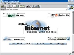 MSN.com on its initial launch day, August 24, 1995.
