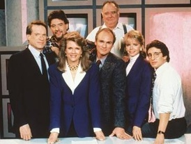 The cast of Murphy Brown (1988–96, from left): (front) Kimbrough, Bergen, Regalbuto, Ford, Shaud; (back) Pastorelli, Corley