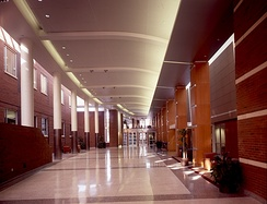 The Flaum Atrium between the School of Medicine and Dentistry and the Arthur Kornberg buildings in the University of Rochester Medical Center.