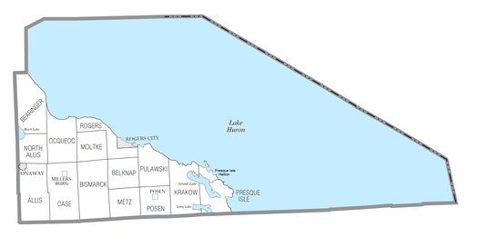 U.S. Census data map showing local municipal boundaries within Presque Isle County.  Shaded areas represent incorporated cities.