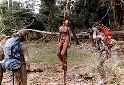 The 1980 mockumentary Cannibal Holocaust, an influential example of splatter cinema.