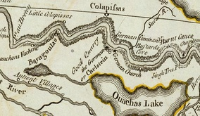 A 1775 map of the German Coast, a historical region of present-day Louisiana located above New Orleans on the eastern bank of the Mississippi River