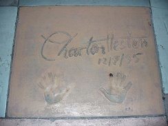 The handprints of Charlton Heston in front of The Great Movie Ride at Walt Disney World's Disney's Hollywood Studios theme park