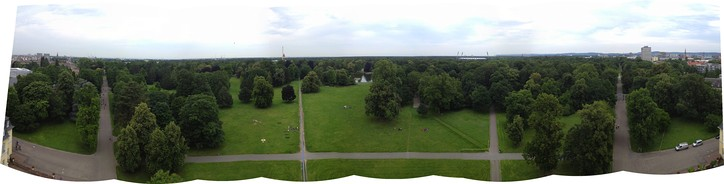 A 180-degree panorama from atop the palace tower, facing north