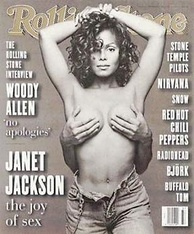 Jackson on the cover of Rolling Stone with the hands of her then unknown husband covering her breasts