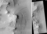 Tikhonravov Basin streaks, as seen by HiRISE.  Scale bar is 500 m (1,600 ft) long