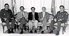 The first junta. Left to right: Jaime Abdul Gutiérrez, Mario Antonio Andino, Román Mayorga Quirós, Guillermo Manuel Ungo, Adolfo Arnoldo Majano.