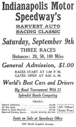"Advertisement for an Indianapolis Motor Speedway ""Harvest Classic"" race"