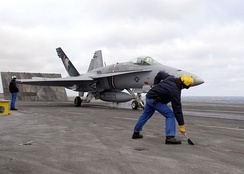U.S. Navy F/A-18C from VFA-131 launches from French aircraft carrier Charles de Gaulle off the Virginia Capes.