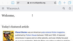 Wikipedia Main Page on the iPhone Safari web browser in landscape mode
