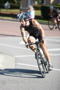 Triathlete in the cycling portion of the event