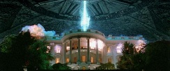 The shot of the White House's destruction was the focus of the film's marketing campaign. A fleeing helicopter was added to the shot in the final print.