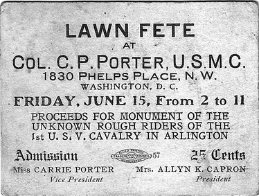 Ticket for a 1906 fund-raising event to help finance a monument for the Rough Riders erected later in 1906