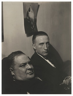 Man Ray, 1920, Three Heads (Joseph Stella and Marcel Duchamp, painting bust portrait of Man Ray above Duchamp), gelatin silver print, 20.7 x 15.7 cm, Museum of Modern Art, New York