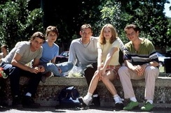 The central young cast of Scream. From left to right: Ulrich, Campbell, Lillard, McGowan, and Kennedy.