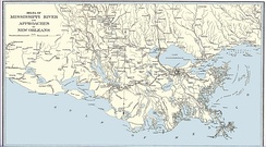 Map depicting Louisiana and approaches to New Orleans as depicted during the Civil War.[1]
