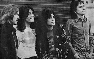 T. Rex during their heyday (left to right): Bill Legend, Mickey Finn, Marc Bolan, Steve Currie