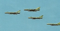 Egyptian Sukhoi Su-7 fighter jets conducting air strikes over the Bar Lev Line on 6 October