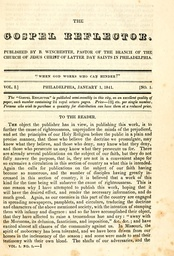First issue of The Gospel Reflector January, 1841.