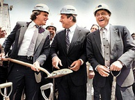 Groundbreaking of Pilot Field in July 1986. From left to right: Buffalo Bisons owner Robert E. Rich Jr., Governor Mario Cuomo and Buffalo Mayor James D. Griffin.