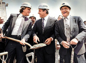 Groundbreaking of the venue in July 1986. From left to right: Bisons owner Robert E. Rich Jr., Governor Mario Cuomo and Mayor James D. Griffin