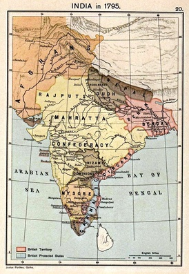 Map of India in 1795, map indicates the political end of the Mogul dynasty in India.