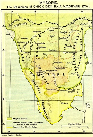 Kingdom of Mysore (1704) during the rule of King Chikka Devaraja Wodeyar