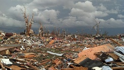 Damage to houses and trees shortly after the November 17, 2013 tornado.