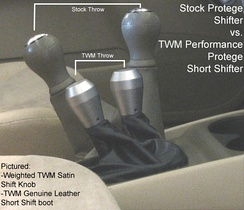 Comparison between a stock shifter and a short shifter