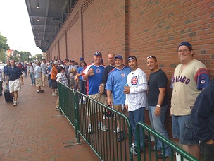Lines can become very long outside Gate N, the entrance to the Bud Light Bleachers. Lines often start forming as early as 9 a.m. for a 1:20 p.m. first pitch.