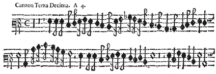 Excerpt from a trombone part from a Picchi canzon (1625). The baritone clef seen here is very common for trombone parts of this era.
