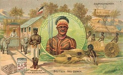 Postcards depicted romanticized images of natives and exotic locales, such as this early 20th-century card of the German colonial territory in New Guinea.