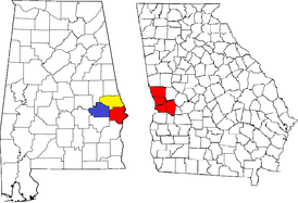 Location of the Columbus, Georgia-Auburn, Alabama CSA and its counties: .mw-parser-output .legend{page-break-inside:avoid;break-inside:avoid-column}.mw-parser-output .legend-color{display:inline-block;width:1.5em;height:1.5em;margin:1px 0;text-align:center;border:1px solid black;background-color:transparent;color:black;font-size:100%}.mw-parser-output .legend-text{font-size:95%}  Columbus, Georgia Metropolitan Statistical Area   Auburn, Alabama Metropolitan Statistical Area   Tuskegee, Alabama Micropolitan Statistical Area (defunct)