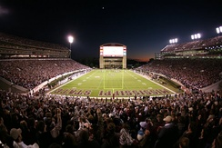 Davis Wade Stadium at a record-setting capacity of 58,103 against Alabama. Since renovation and expansion, the new attendance record is 62,945 set in 2014 against Auburn.[52]