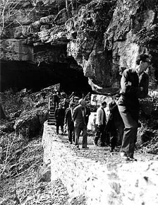 Brazilian foresters touring Russell Cave in 1965