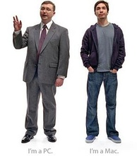 The two characters from the ads who personify a Windows PC (left, John Hodgman) and a Mac PC (Justin Long).