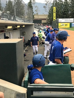 The 2018 Quakes in their dugout at LoneMart Field