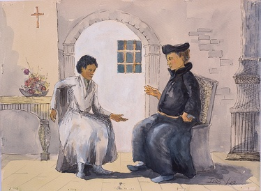 Michael the Deacon and Martin Luther convene in Wittenberg, painted by Inès Lee and commissioned by Sir John Das (2018).