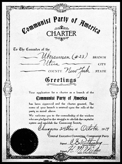 Charter for a local unit of the CPUSA dated October 24, 1919