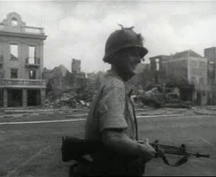 A Dutch soldier on patrol in Willemstad following the 1969 riots
