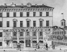 Kotomin House, housing a bookstore and Wolf & Beranget (lithograph in 1830s)