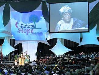 Ellen Johnson Sirleaf, President of Liberia, addresses the 2008 General Conference of the United Methodist Church.