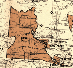Great Sioux Reservation, 1888; established by Treaty of Fort Laramie (1868)