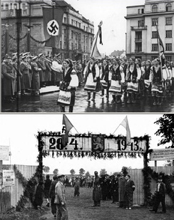 District Galicia Spring 1943. Celebrations dedicated to the creation of the SS-Freiwilligen-Schützen-Division «Galizien». Regional recruitment center