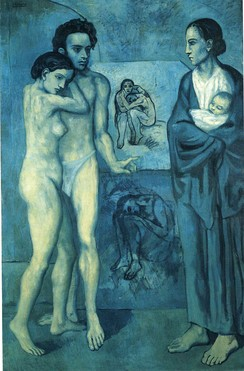 "La Vie by Pablo Picasso, 1903; falling under the ""style label"" of Picasso's Blue Period"